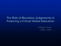 The role of boundary judgements in fostering a critical global education