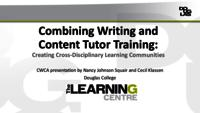 Combining writing and content tutor training: Creating cross-disciplinary learning communities